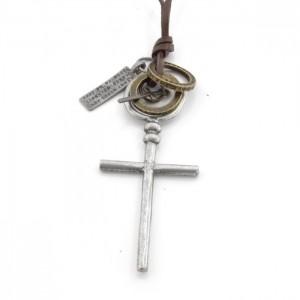 Kors halskæde til mænd læder