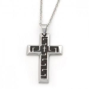 Kors halskæde til mænd streget