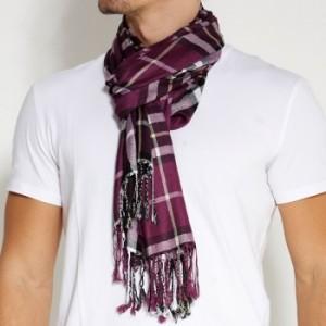 Purple checked halstørklæde