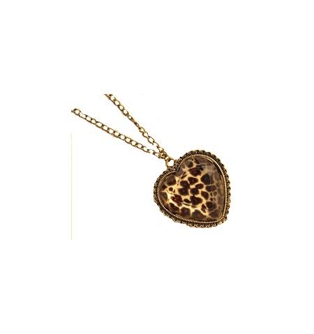 Hjerte halskæde leopard