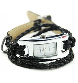 billige ure til kvinder sort læder