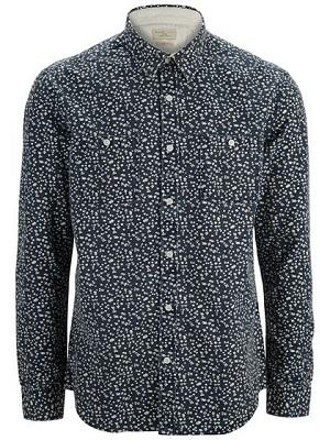 selected skjorte mørkeblå med hvid