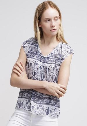 Billige bluser til kvinder blålig mønster