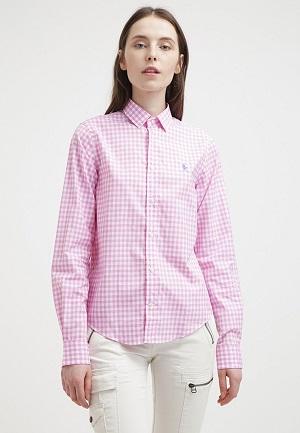 Skjorte til kvinder pink ternet
