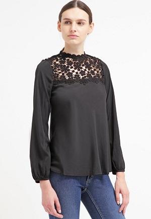 Sort bluse til kvinder lang halsmønster