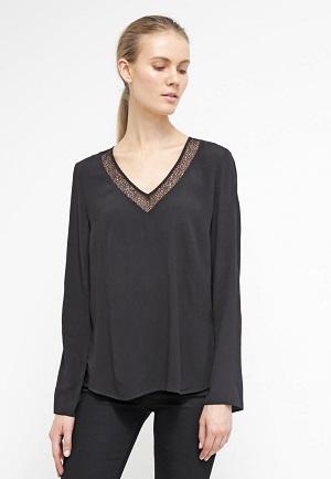 Sort bluse til kvinder lang v halsform