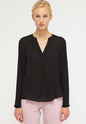 Sort bluse v halsform