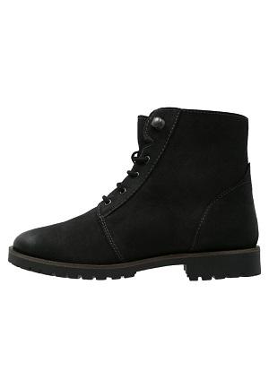 Sort vinterstøvle i læder