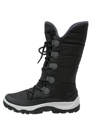 Sort vinterstøvle med snørre