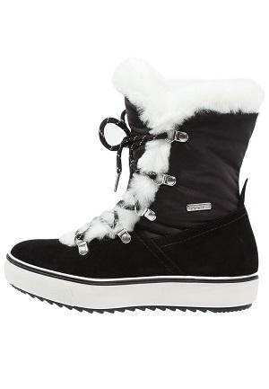Dame vinterstøvler med hvid stof