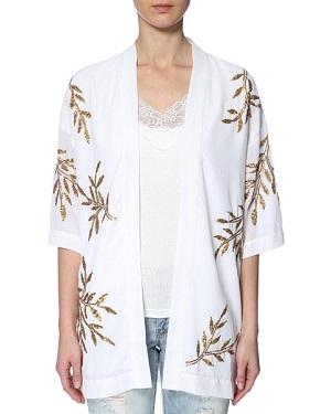 Hvid cardigan med mønster