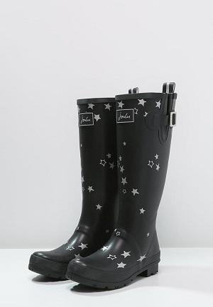 Sorte gummistøvler med stjerne til kvinder