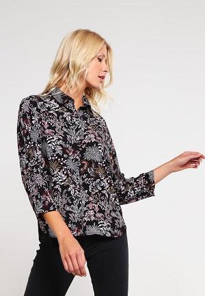 Sort skjortebluse med blomster til kvinder