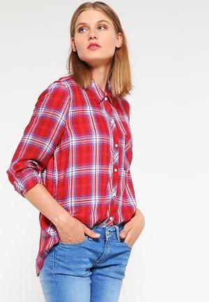 Rød ternet skjortebluse til kvinder